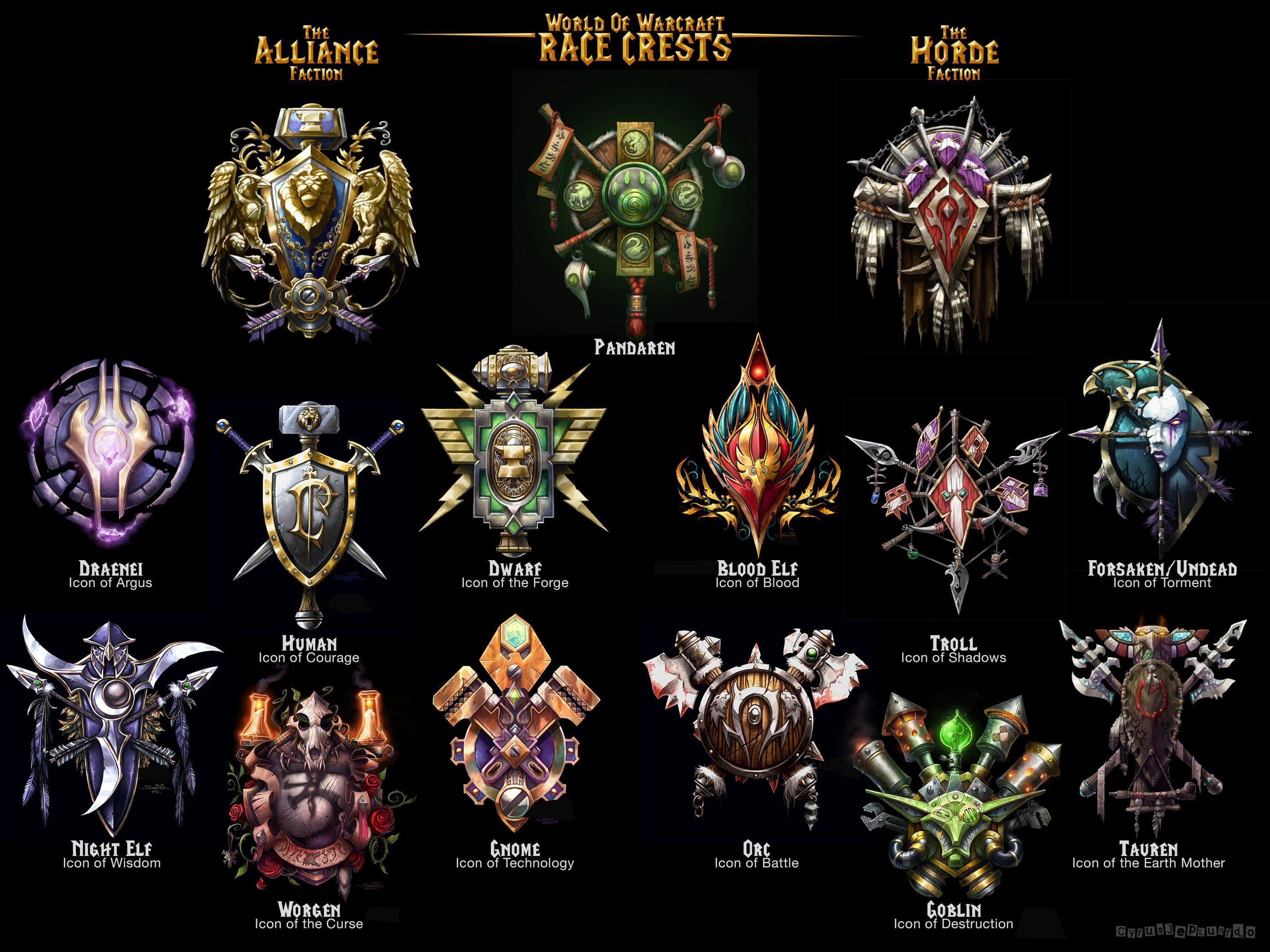 Warcraft Race Crests World Of Warcraft Wallpaper World Of