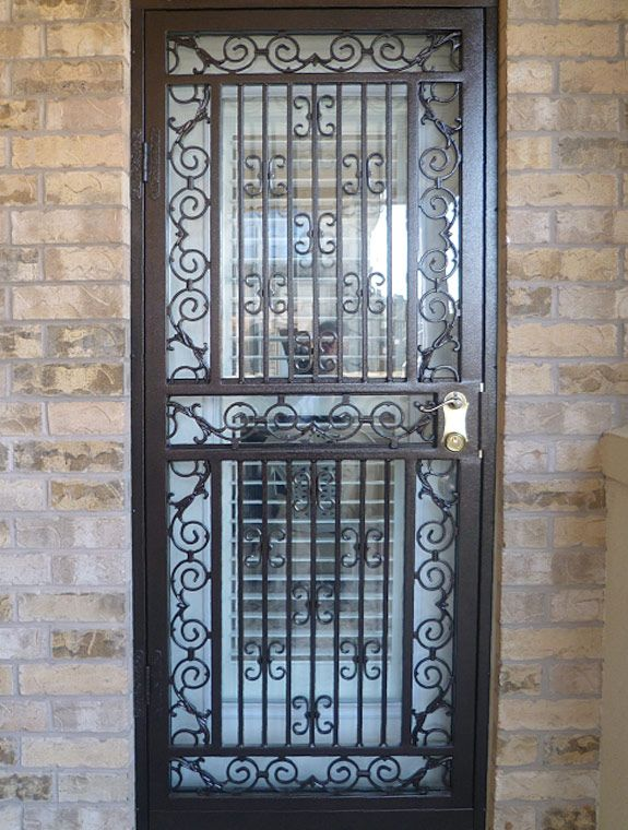Iron doors design inspiration walkout gate and side lites for Door gate design