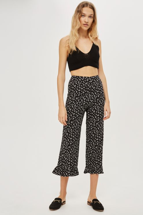 f3fb3628161d8 **Rosa Ditsy Frill Hem Trousers by Nobody's Child Wide Leg Trousers, Palazzo  Trousers