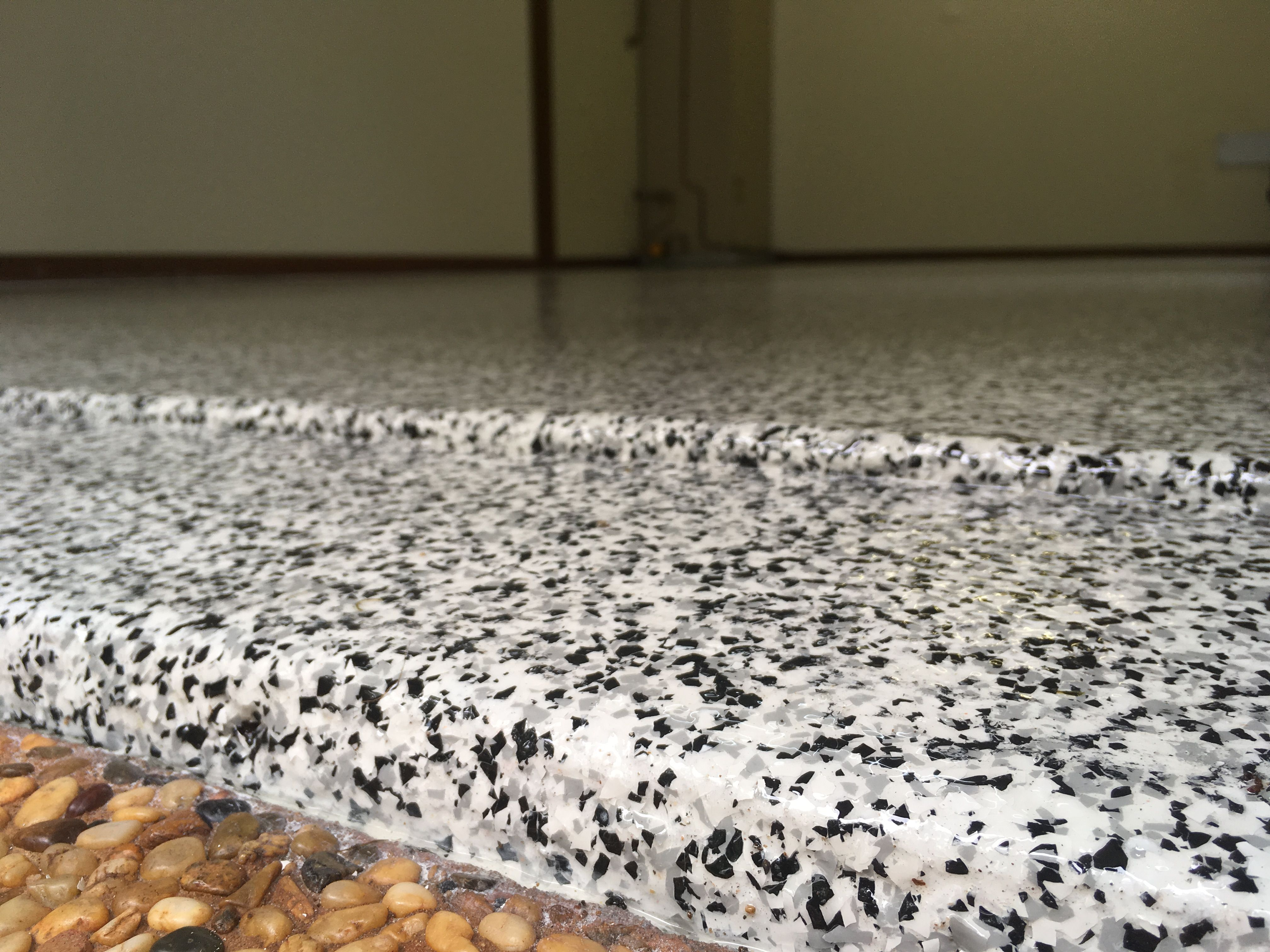 Cookies And Cream Epoxy Flake Flooring In A Caloundra