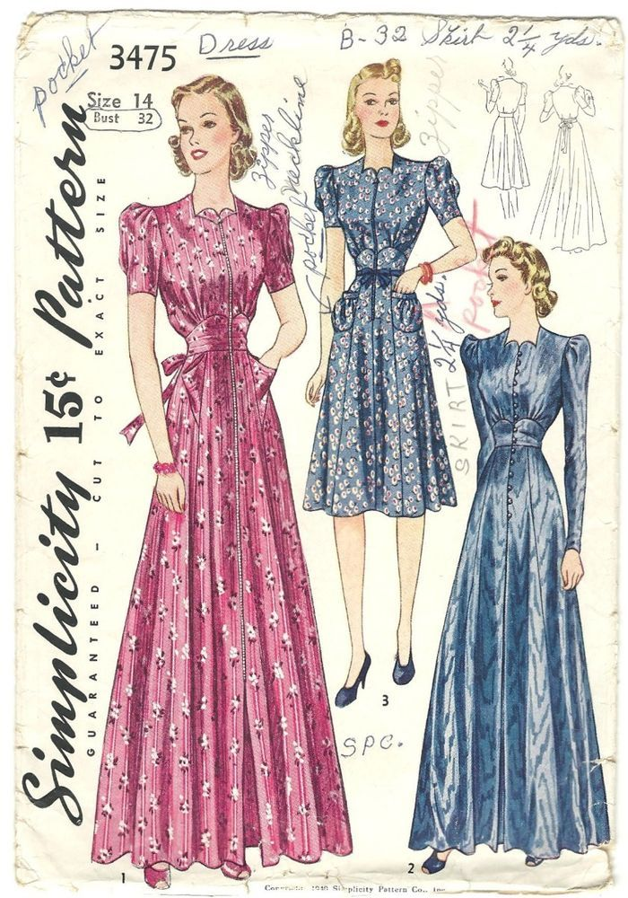 Vintage 40s Dress Pattern High Waisted Long Formal Day 1940 B32 ...