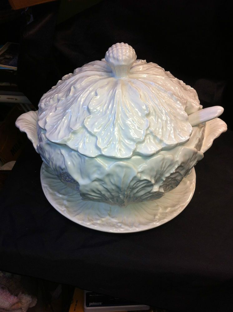 Banquet Size Whittier Pottery Ca White Cabbage Soup Tureen Ladle Under Plate Tureen Tureens Cabbage Soup