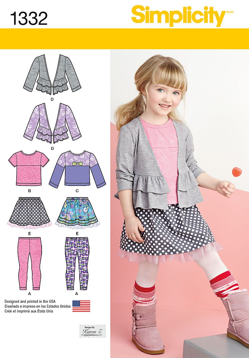 Simplicity 1332 Child\'s Skirt, Knit Leggings, Top and Cardigan ...