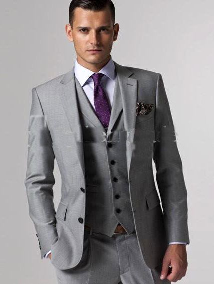 Custom Made To Measure Grey Men Suits Bespoke Wedding Tuxedos For Groom Suit