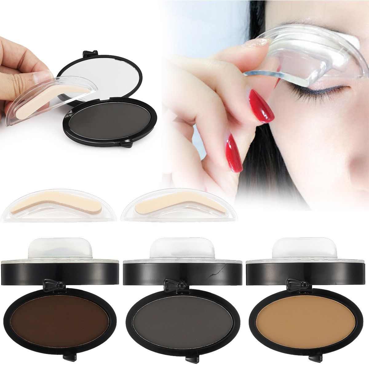 Eyebrow Stamp Power Black Brown Brows Mineral Palette Eyebrow Makeup
