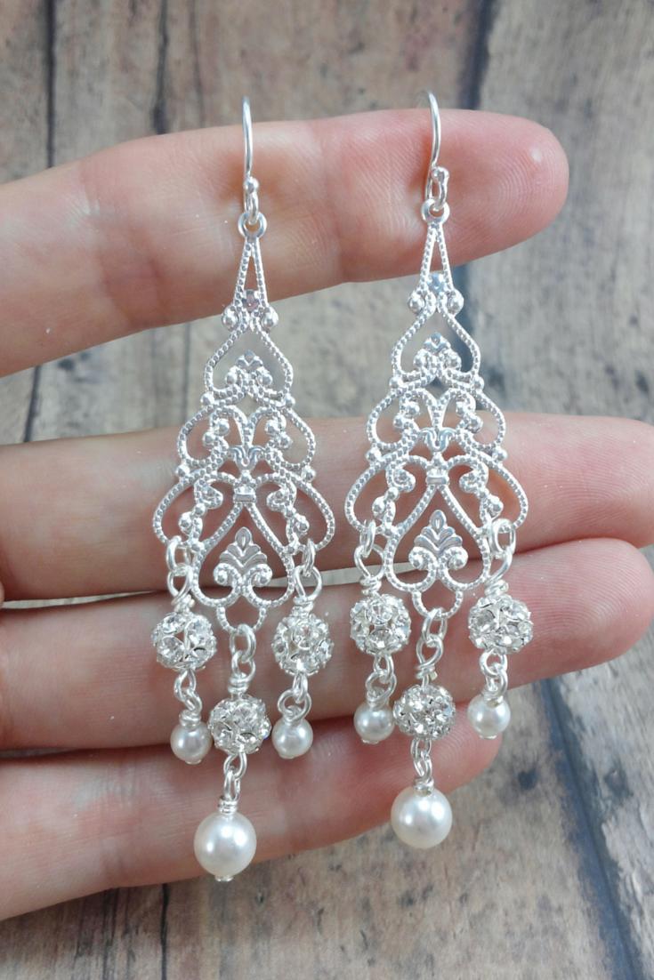 Adele crystal bridal chandelier earrings chandelier earrings adele earrings bridal chandelier earring pearl wedding earring long pearl earring arubaitofo Gallery