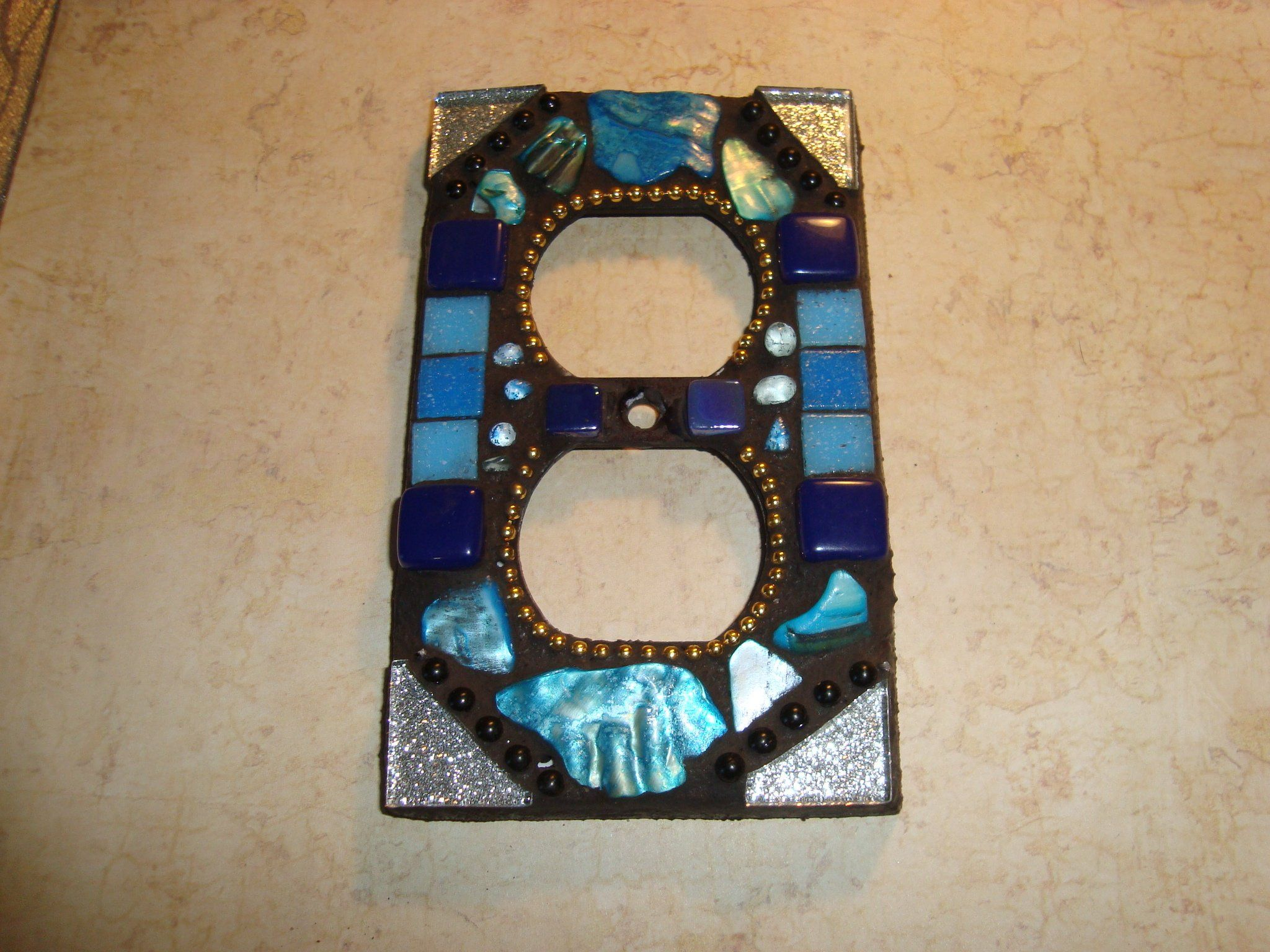 Mosaic Electrical Outlet Cover Wall Plate Wall Art Blue Silver
