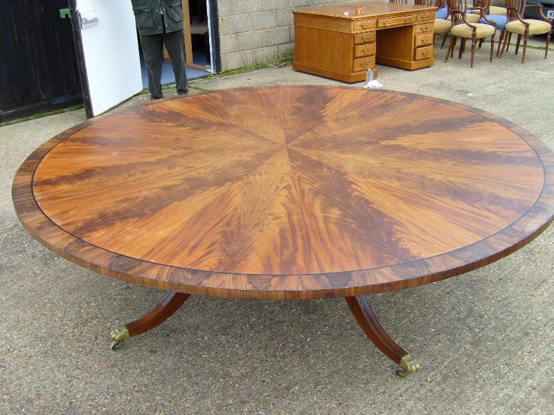 Large Antique Round Dining Table Regency Mahogany Early 1900s