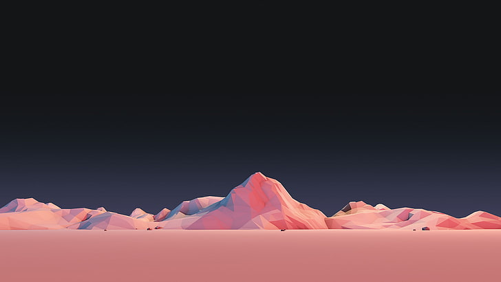 HD wallpaper: pink mountain terrain, illustration, mountains, low poly, minimali...