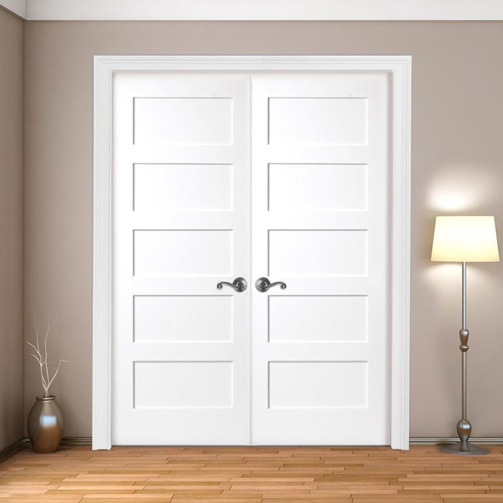 Steves Sons 48 In X 80 In 5 Panel Shaker White Primed Solid Core Wood Double Prehung Interior Door With Bronze Hinges W64m5nnnledrb The Home Depot In 2020 Prehung Interior Doors