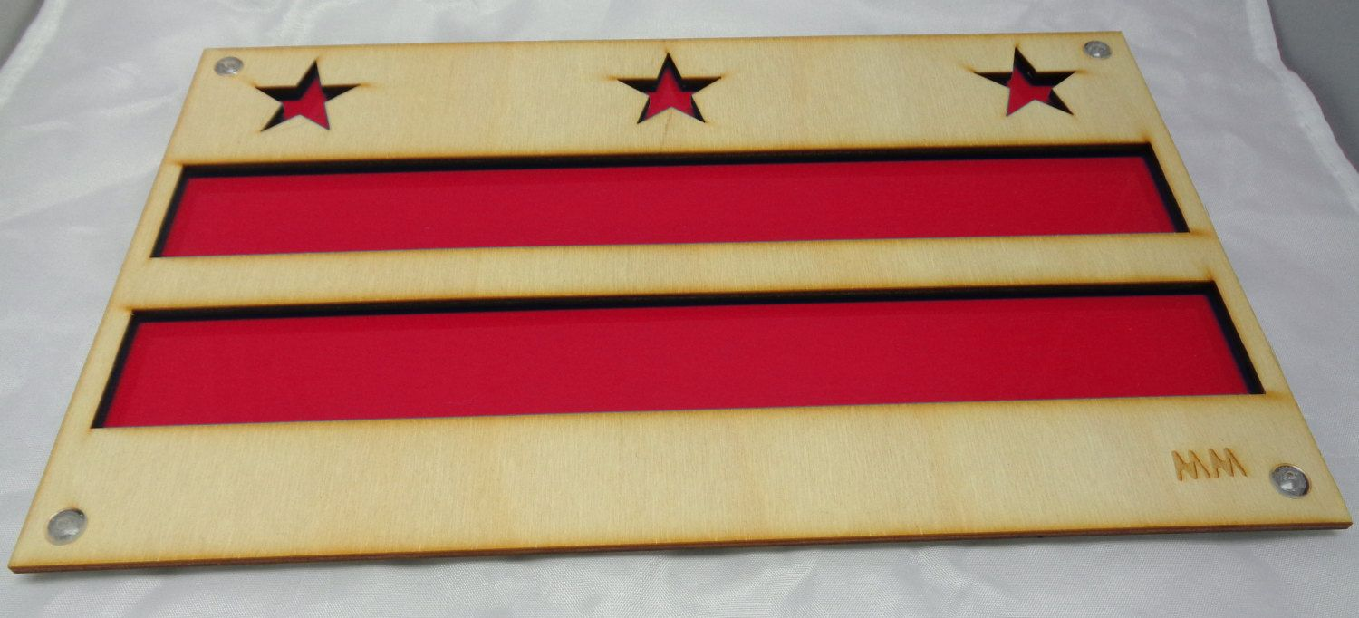 DC Flag Plywood and Recycled Aluminum in Red by mannmadedesigns on Etsy