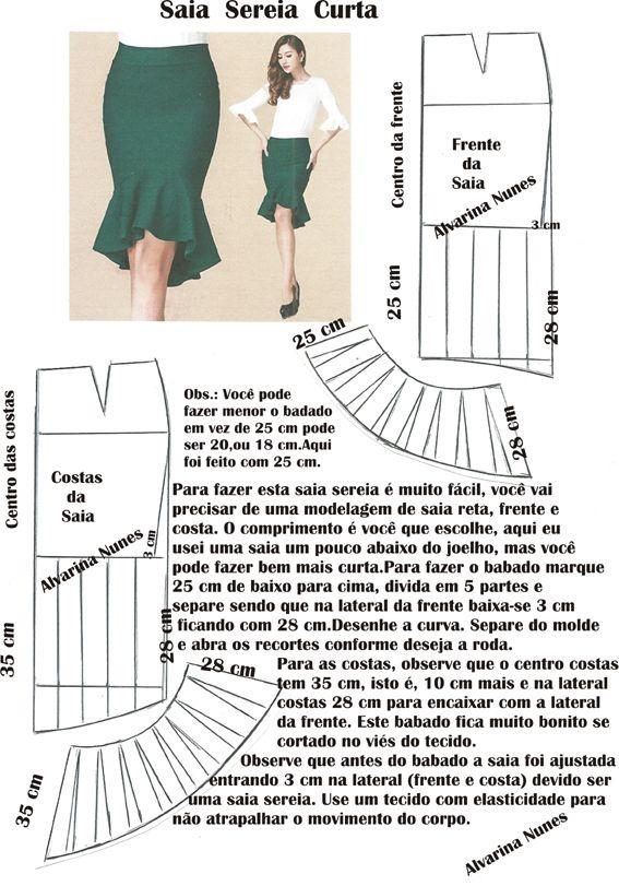 Pin de Dis Rodriguez en faldas | Pinterest | Costura, Molde y Falda