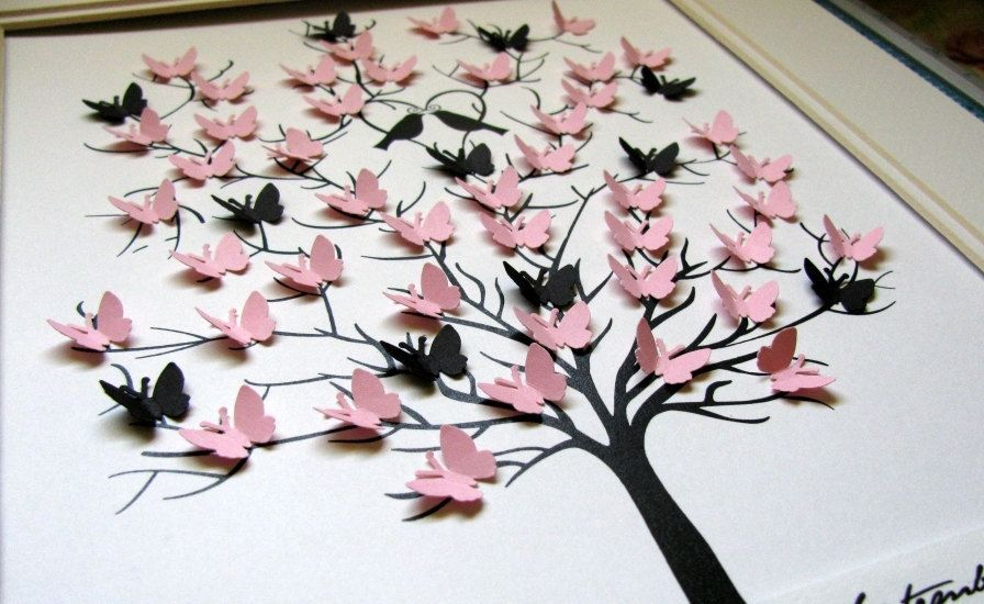 11x14 Tree Of Erflies Personalized At Bottom Special Occasion Wedding Anniversary Your Colour Choices Made To Order
