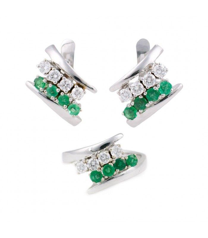 b35c997ff430 Conjunto Pendientes y Anillo Oro Blanco Esmeraldas y Diamantes - Subastas  Regent s