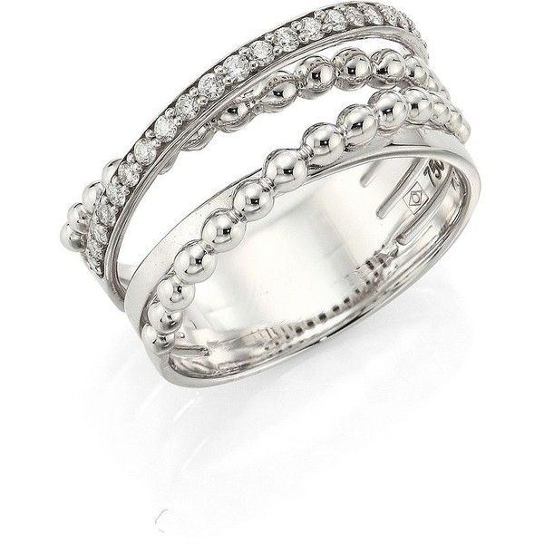 Hueb Bubbles Diamond & 18K White Gold Ring ($1,810) ❤ liked on Polyvore featuring jewelry, rings, apparel & accessories, white gold, 18k diamond ring, diamond jewelry, white gold band ring, white gold diamond jewelry and multi row ring