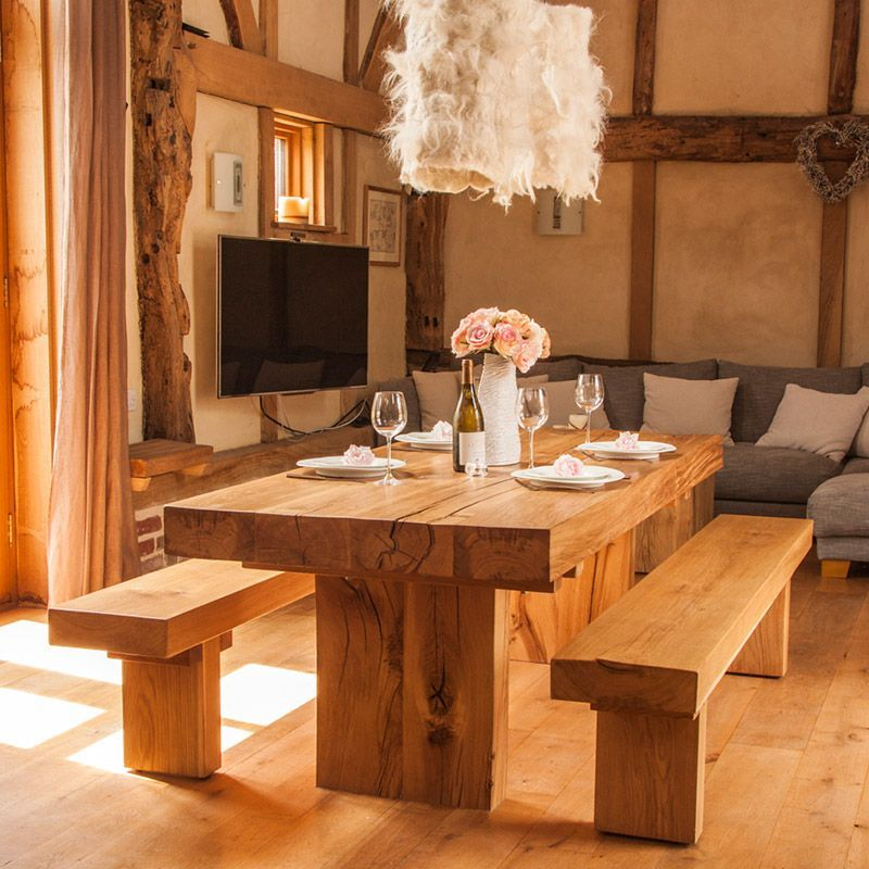 Delightful A Modern Rustic, Chunky, Solid Oak Dining Table In Contemporary Country  Style, Suited For A Traditional Or A Contemporary Home