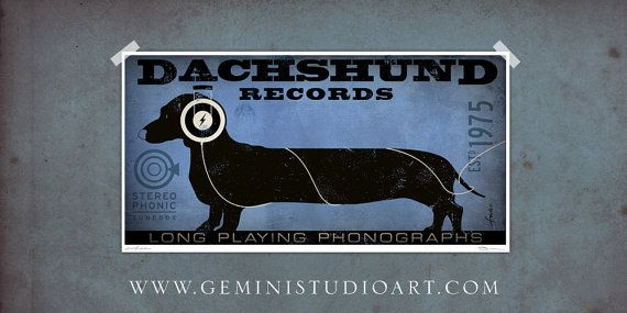 Dachshund Records long dog recordings graphic illustration music artwork giclee archival signed print by stephen fowler