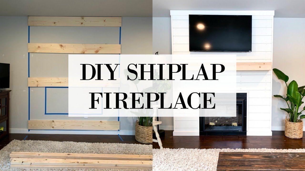 DIY SHIPLAP FIREPLACE WALL TRANSFORMATION YouTube