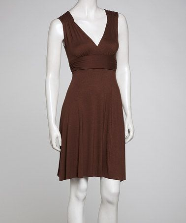 Loving this Bronze V-Neck Dress on #zulily! #zulilyfinds