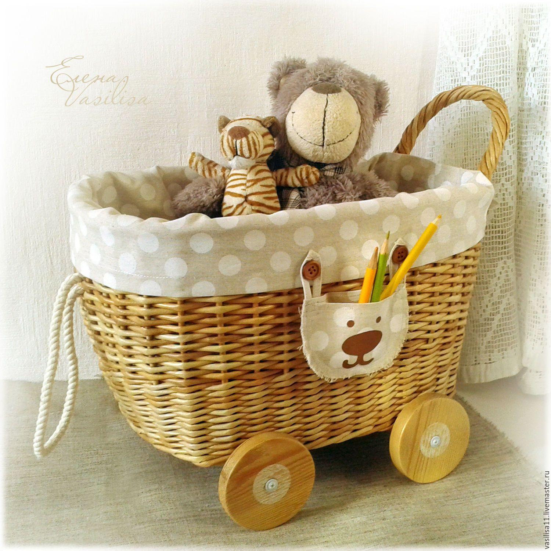 """Купить """"Горошек"""" Тележка для игрушек плетеная - корзина для игрушек, тележка для мишек и кукол, плетеный короб"""