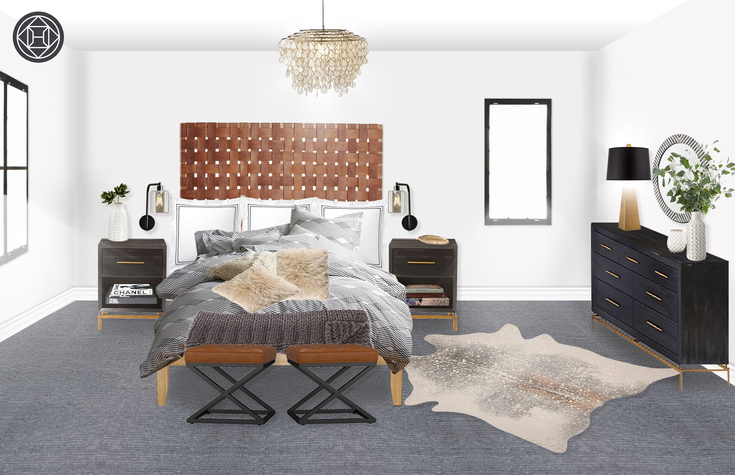 Modern, Glam, Farmhouse Bedroom Design by Havenly Interior