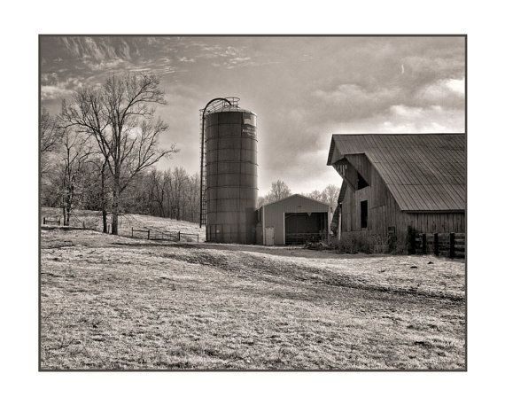 Barn and Silo in Adams TN11x14 ready to frame by VBeaudry on Etsy, $45.00