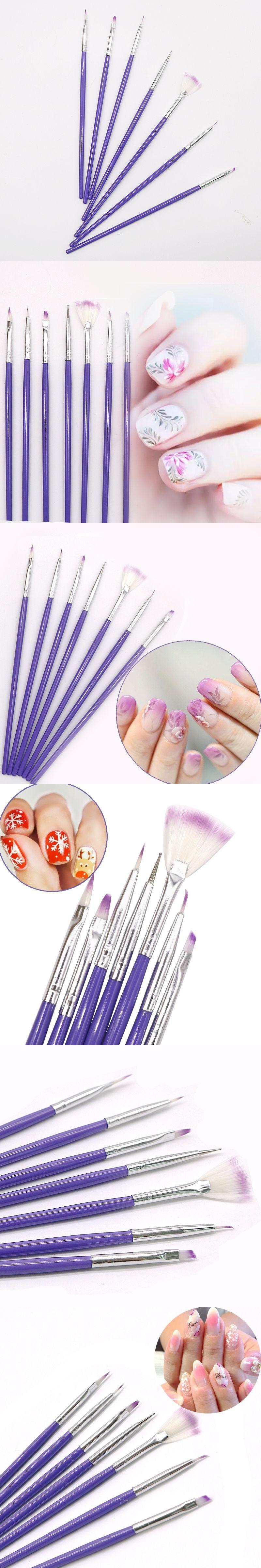7pcsset Purple Diy Painting Dotting Brushes Pen Set Nail Art Design