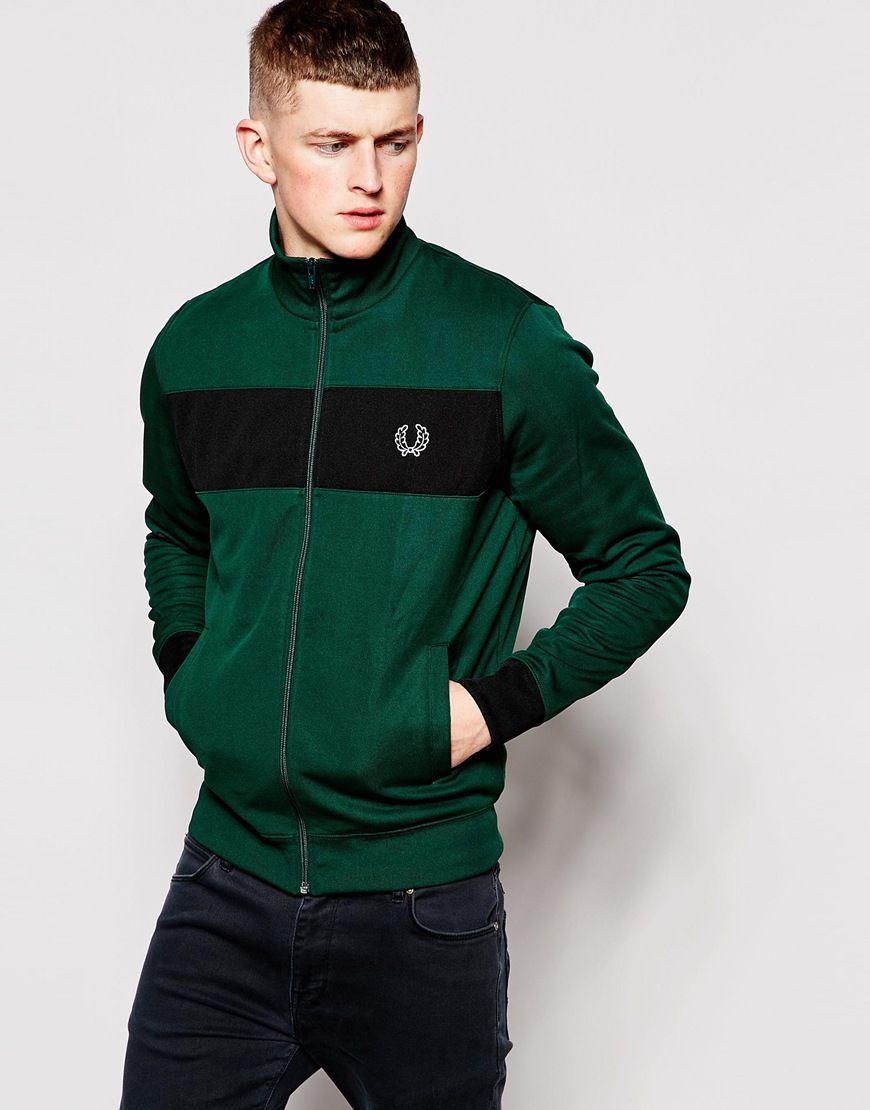 1cf6dbb4df7f Fred Perry Track Top with Chest Stripe in Ivy