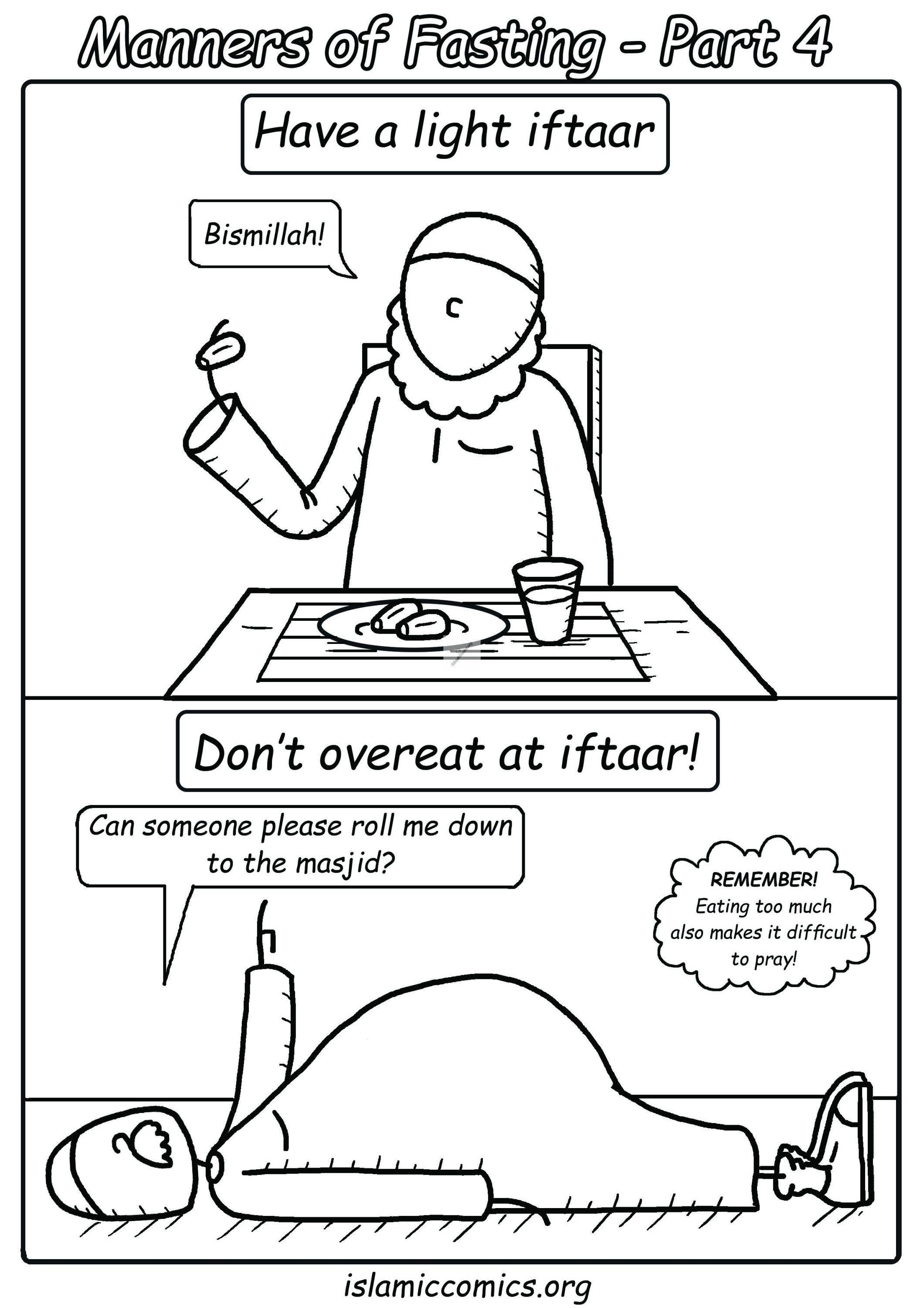 Manners Of Fasting Part 4 Islamic Comics Islamic Books For Kids Muslim Kids Activities Islamic Kids Activities