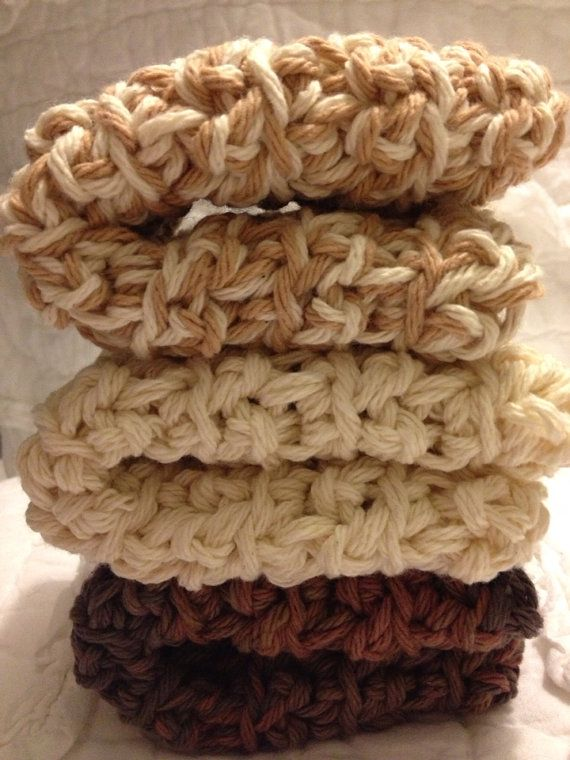 Cozy crochet dishcloths in Teddy Bear Browns by AllAboutTheCozy, $6.00