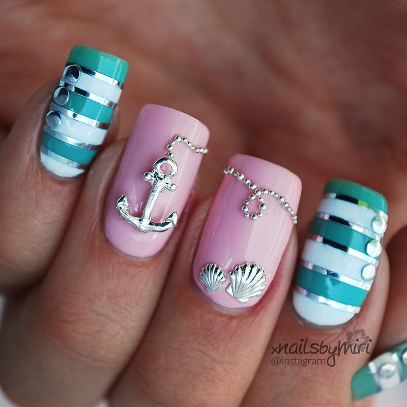 Pink mint nautical nails nail art by xNailsByMiri