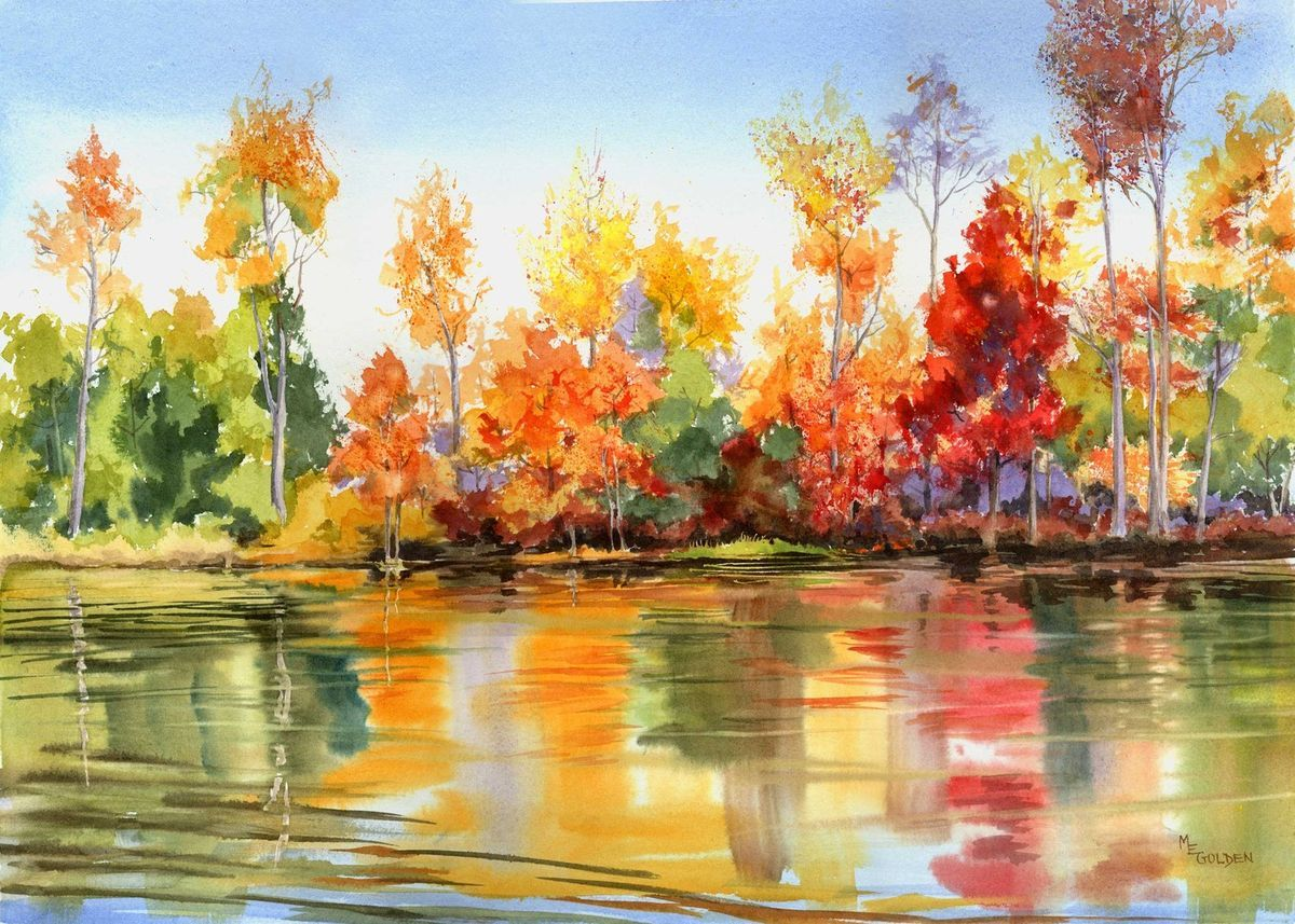 Autumn Reflections Black Water River With Fall Foliage Giclee In