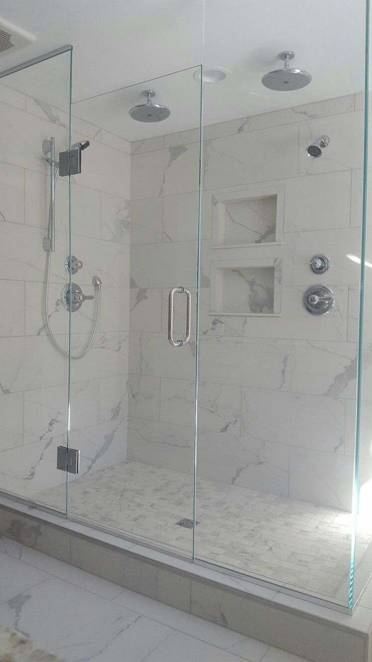 Transitional 2 Person Shower Porcelain Tile Calcatta Marble With Chrome Fixtures Doors Grow Your Relationship