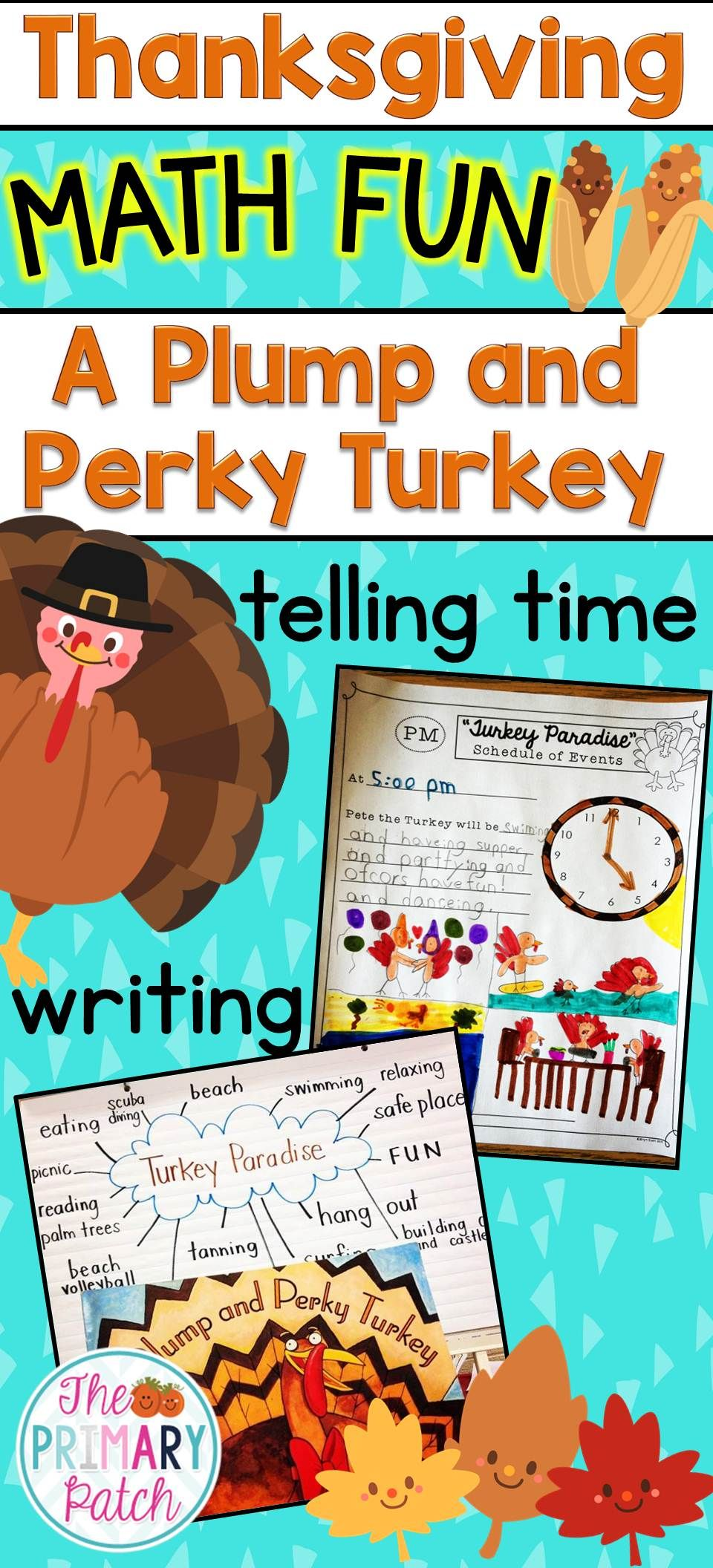 Plump and Perky Turkey Thanksgiving Telling Time Activities | Cross ...