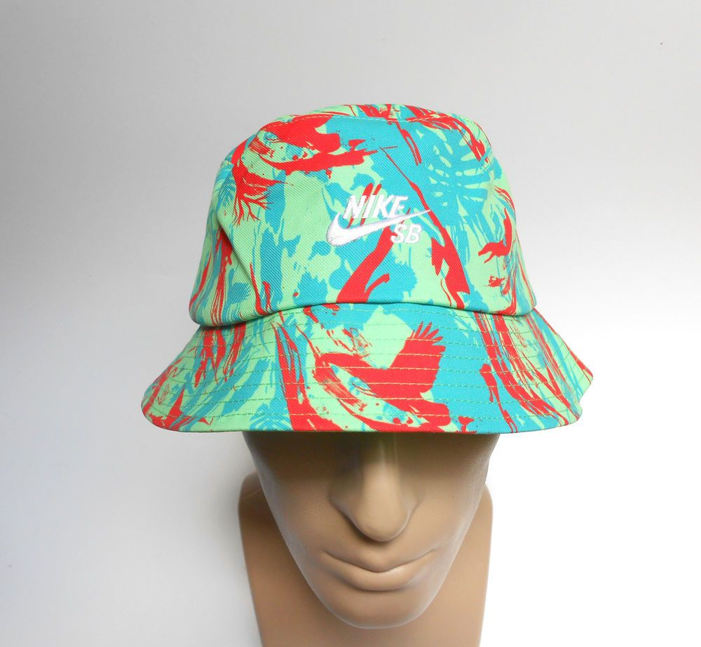 Nike SB Skateboard Bucket Hat L/XL Green Print Cotton Blend Large/X-