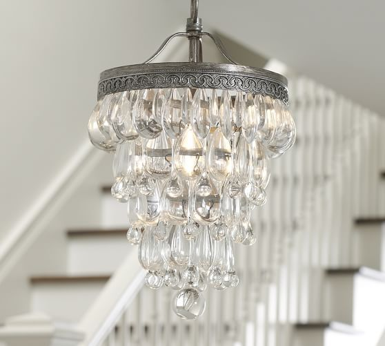 Clarissa Glass Drop Petite Round Chandelier   Pottery Barn - This would be  so cute in - Clarissa Glass Drop Petite Round Chandelier Pottery Barn - This