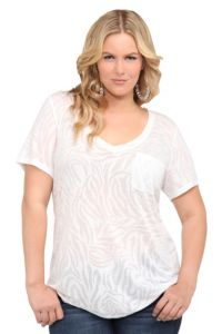 Twist Tees - White Zebra Burnout V-Neck Tee | Tops, could be cute for our paint fight...