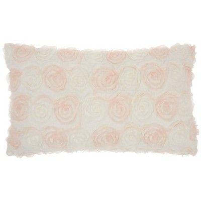 "14""x24"" Fur Chiffon Roses Faux Fur Throw Pillow Ivory - Mina Victory"