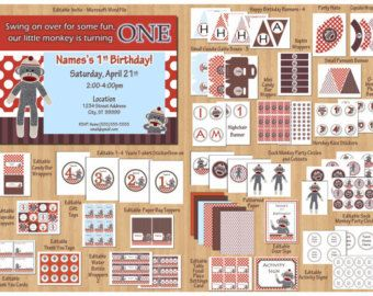 Sock Monkey Package Sock Monkey Birthday Party Sock Monkey Party Printout Sock Monkey Printables Sock Monkey DIY Editable WORD Files PDF #sockmoneky