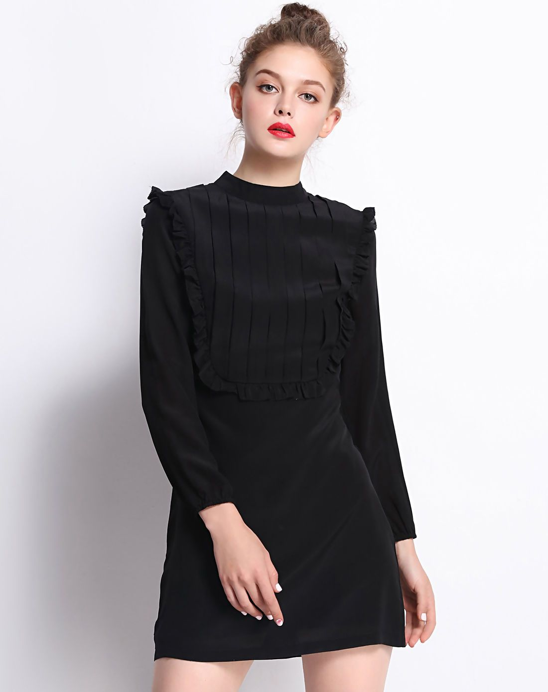Short western style wedding dresses  AdoreWe VIPme ALine Dresses  Fantiow Black Mock Neck Silk Ruffles