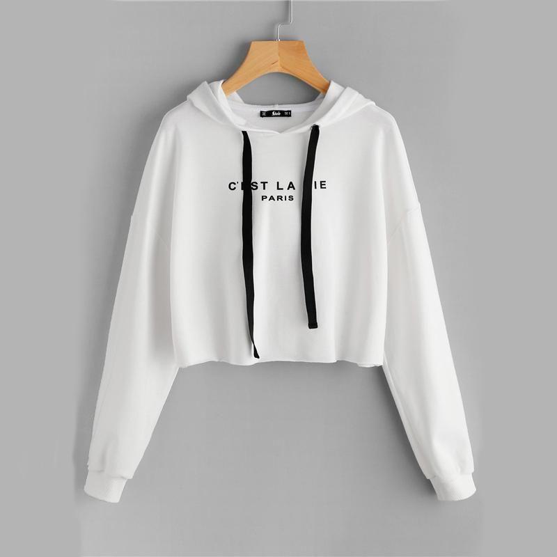 615a03a612b693 C'est La Vie Paris White Hoodie in 2019 | Olibie Fashion | Crop top ...