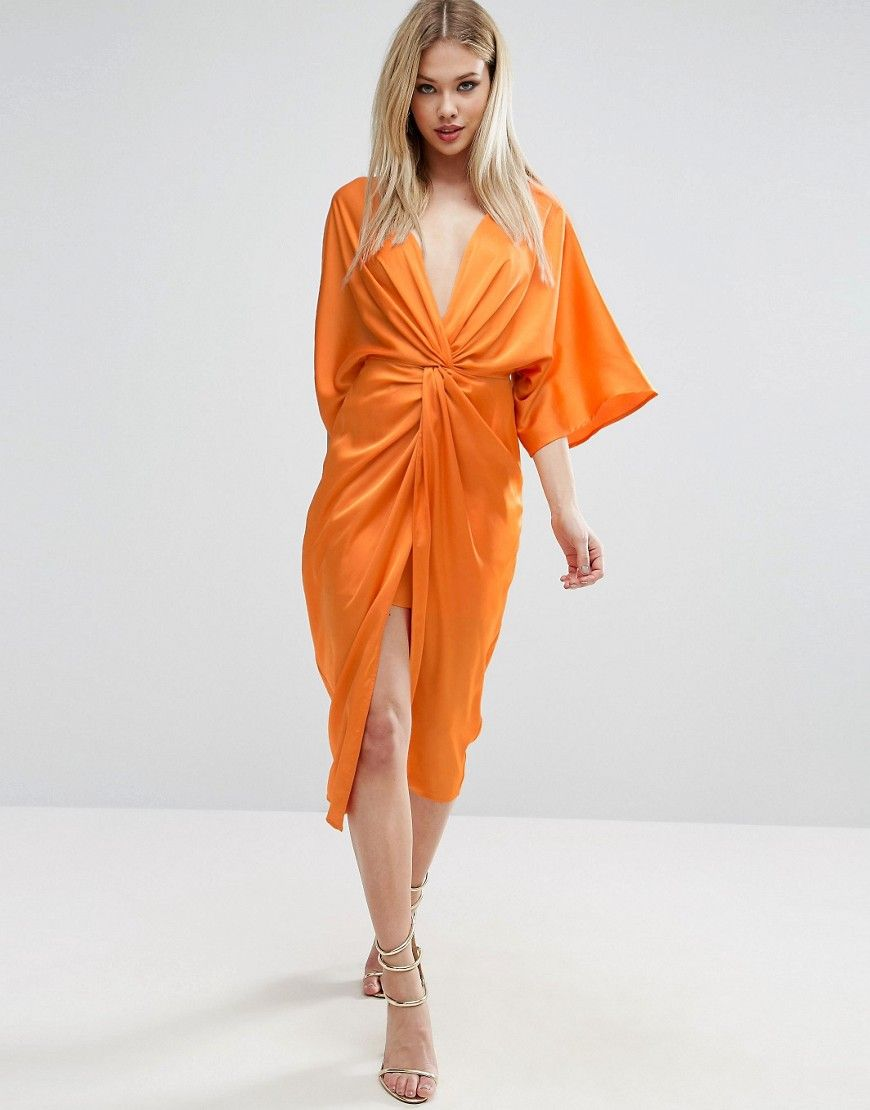 Asos kimono twist front midi dress orange hearts pinterest