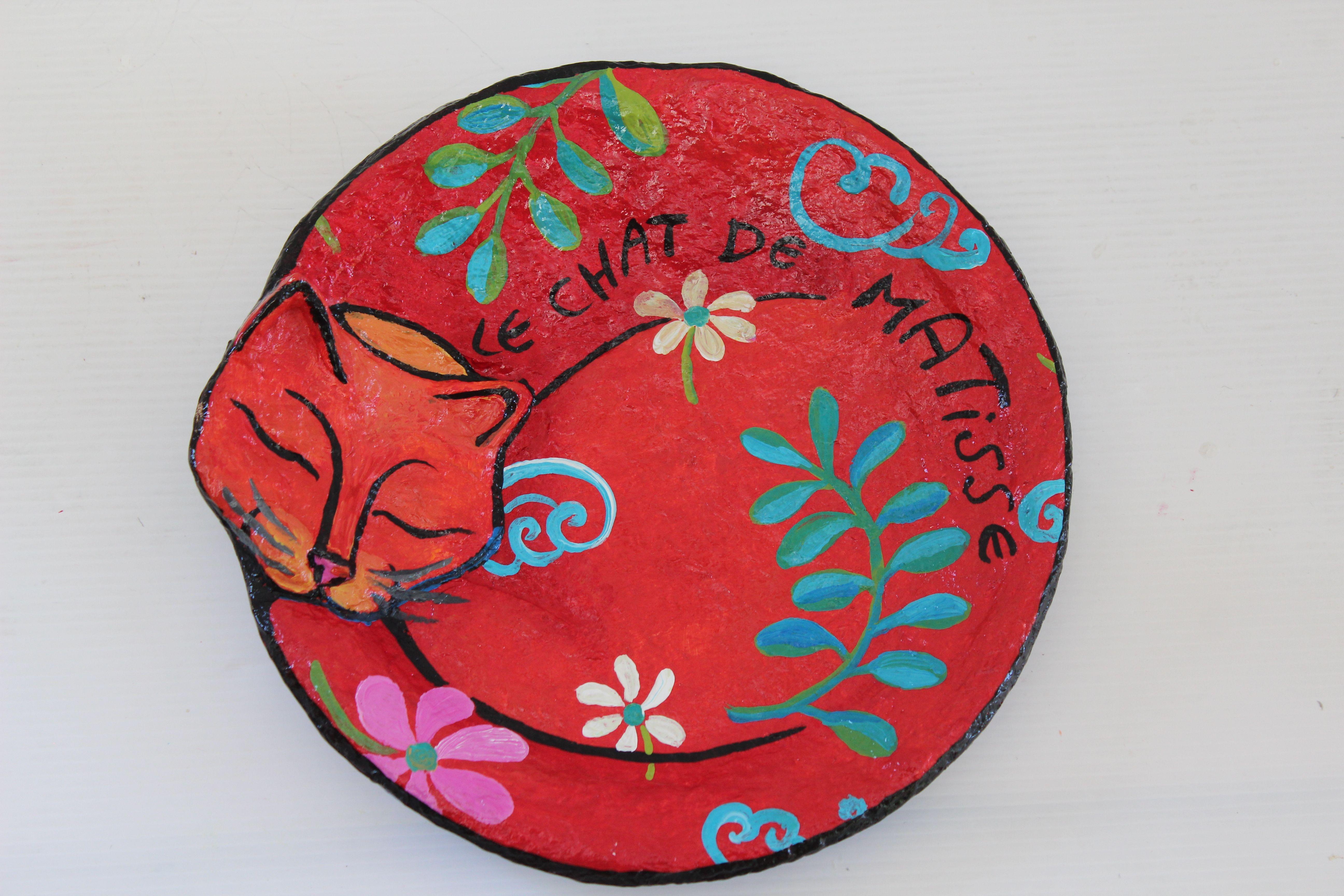 Paper mache plate u0027hand painted plate-Le chat de Matisse by Liat Binyamini Ariel & Paper mache plate u0027hand painted plate-Le chat de Matisse by Liat ...