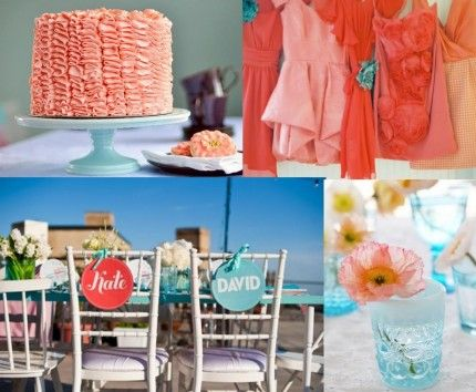 Turquoise and coral beach wedding - ahdorable chairs, and I own a blue tumbler cup like that. (makes me wish i'd bought more!)