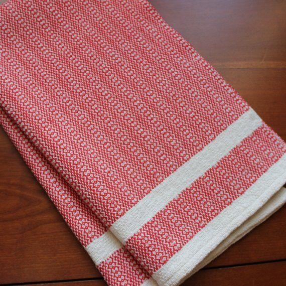 Kitchen Towel Handwoven Dish Hand Woven Cotton Linen Natural Red