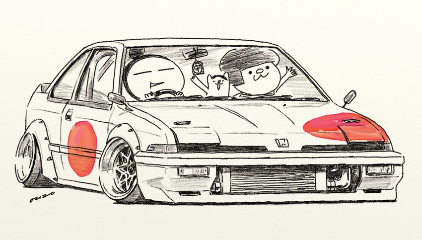 "car illustration ""crazy car art"" jdm japanese old school ""INTEGRA"" original cartoon ""mame mame rock"" / © ozizo"