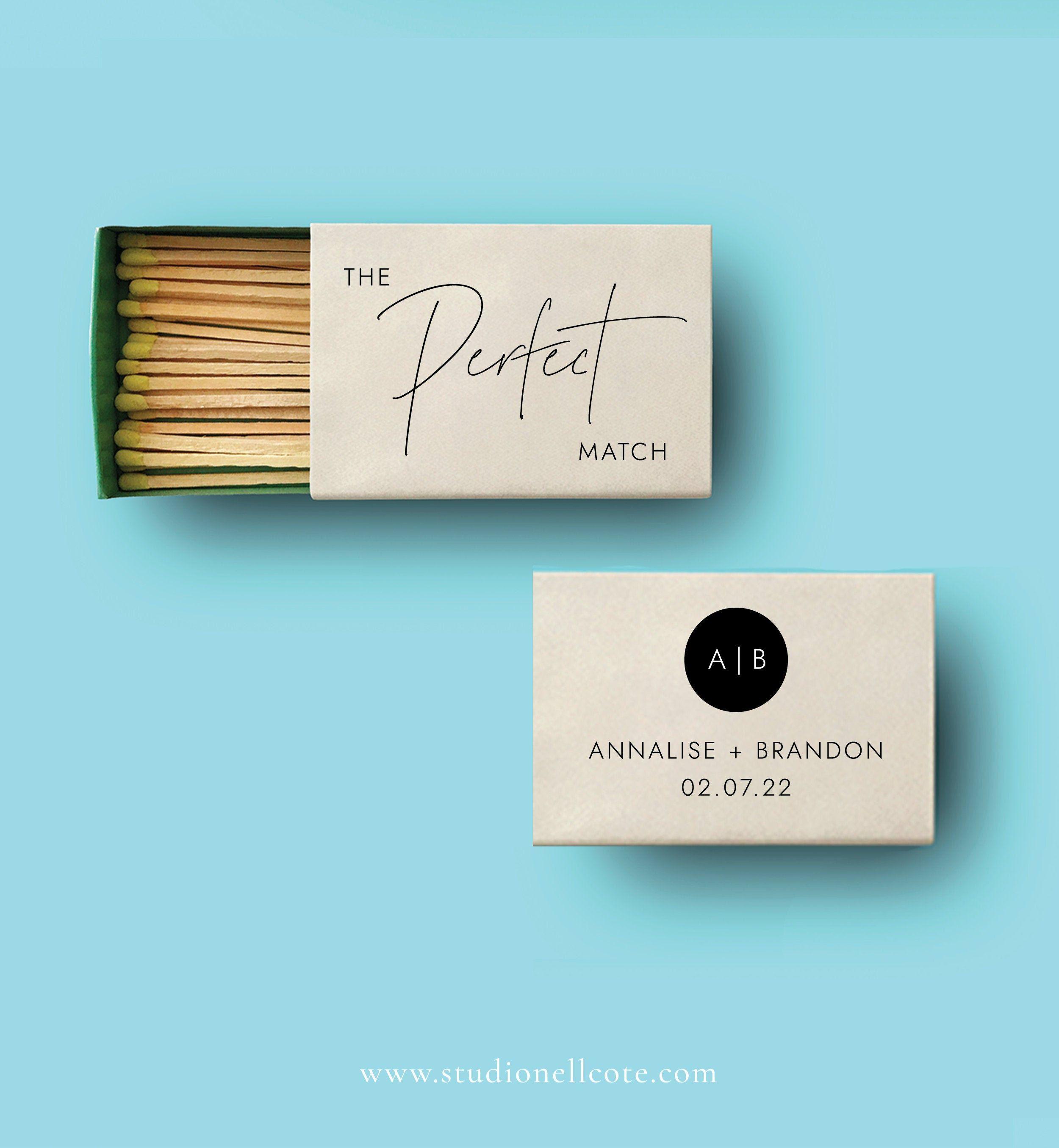 The Perfect Match Template Wedding Matchbox Favor Modern Etsy Wedding Match Boxes Matchbox Wedding Favors Wedding Matches