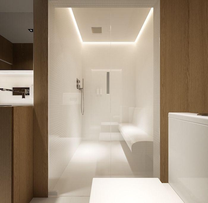 Amnagement Salle De Bain Avec Espace Sauna Banc Et Douche Italienne Design En Bois