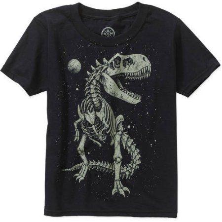 Boys' Glow in the Dark T-Rex Skeleton Short Sleeve Graphic Tee, Boy's, Size: 14/16, Black
