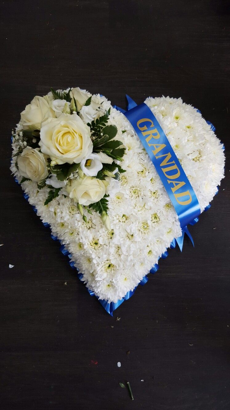 Funeral tribute white based heart with a royal blue ribbon with sash funeral tribute white based heart with a royal blue ribbon with sash quoting grandad doncaster izmirmasajfo Gallery